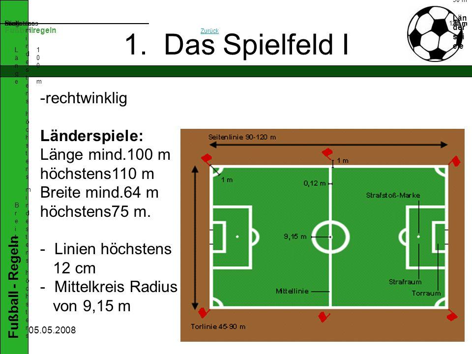 Fußball - Regeln 05.05.2008 1. Das Spielfeld II Torraum Strafraum