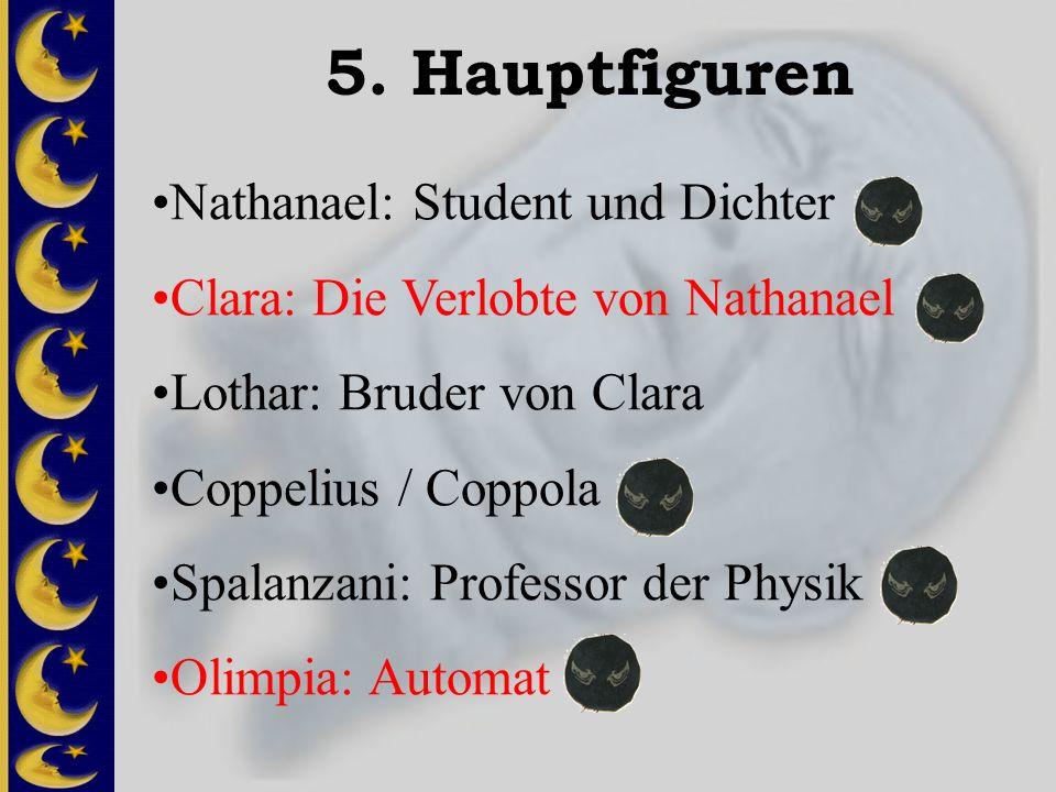 5. Hauptfiguren Nathanael: Student und Dichter Clara: Die Verlobte von Nathanael Lothar: Bruder von Clara Coppelius / Coppola Spalanzani: Professor de