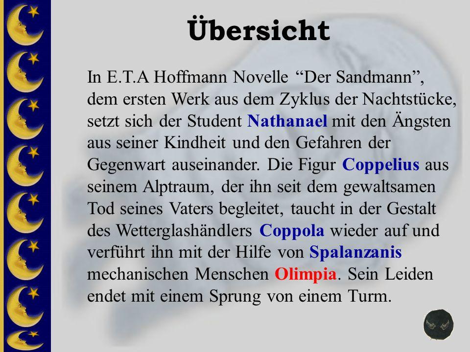 Übersicht In E.T.A Hoffmann Novelle Der Sandmann, dem ersten Werk aus dem Zyklus der Nachtstücke, setzt sich der Student Nathanael mit den Ängsten aus