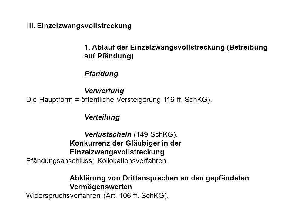 1. Ablauf der Einzelzwangsvollstreckung (Betreibung auf Pfändung) Pfändung Verwertung Die Hauptform = öffentliche Versteigerung 116 ff. SchKG). Vertei