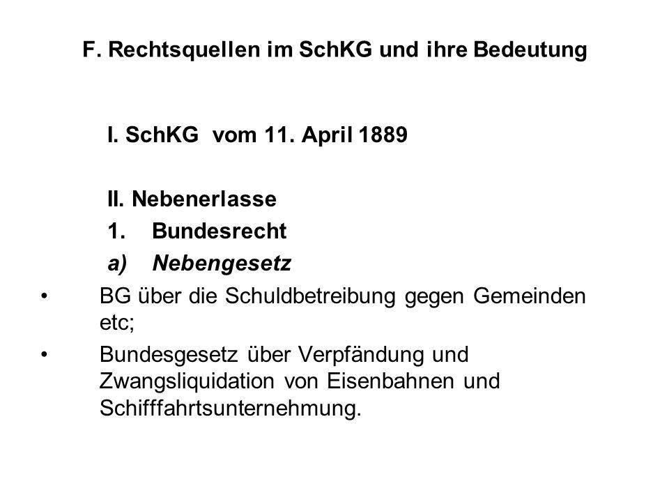 F. Rechtsquellen im SchKG und ihre Bedeutung I. SchKG vom 11. April 1889 II. Nebenerlasse 1.Bundesrecht a)Nebengesetz BG über die Schuldbetreibung geg