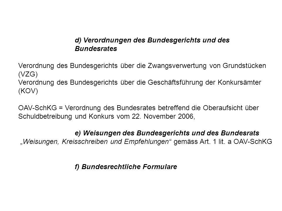 d) Verordnungen des Bundesgerichts und des Bundesrates Verordnung des Bundesgerichts über die Zwangsverwertung von Grundstücken (VZG) Verordnung des B