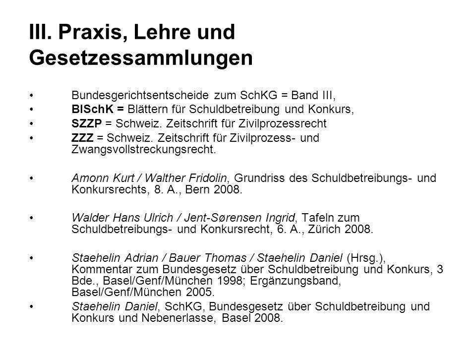 III. Praxis, Lehre und Gesetzessammlungen Bundesgerichtsentscheide zum SchKG = Band III, BlSchK = Blättern für Schuldbetreibung und Konkurs, SZZP = Sc
