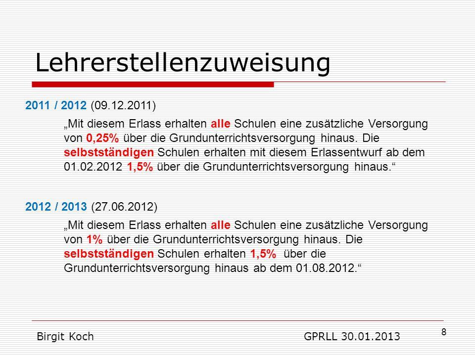 19 GSB gehört automatisch zu SES (+ SBS) freie Personalmittel (Geld aus nicht besetzten Stellen) können verwendet werden pro Stelle gibt es bei Umwandlung in Mittel nur 2/3 des Geldes, was Stelle tatsächlich kostet es sind ausschließlich befristete Verträge möglich – also anders, als SES-Beauftragte des HKM informiert hatten Geld nur für Landesaufgaben => alles wofür HKM zuständig ist… Birgit Koch GPRLL 30.01.2013 Großes Schulbudget - GSB