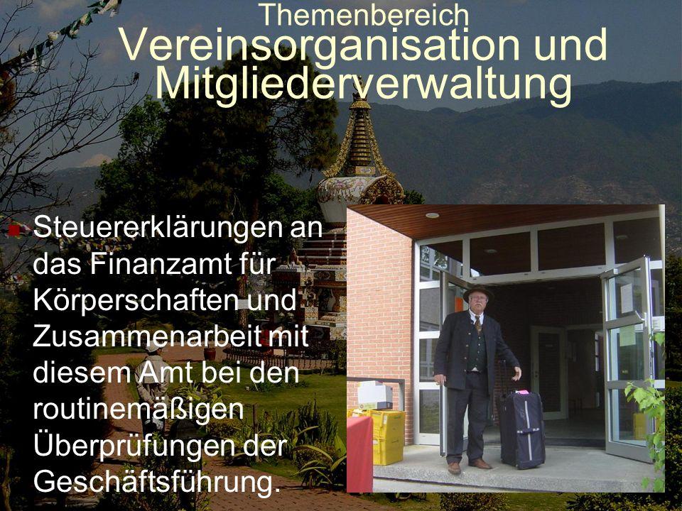 Themenbereich Vereinsorganisation und Mitgliederverwaltung Routinearbeiten: Recherchen in Zusammenarbeit mit der Schatzmeisterin bezüglich Postanschri