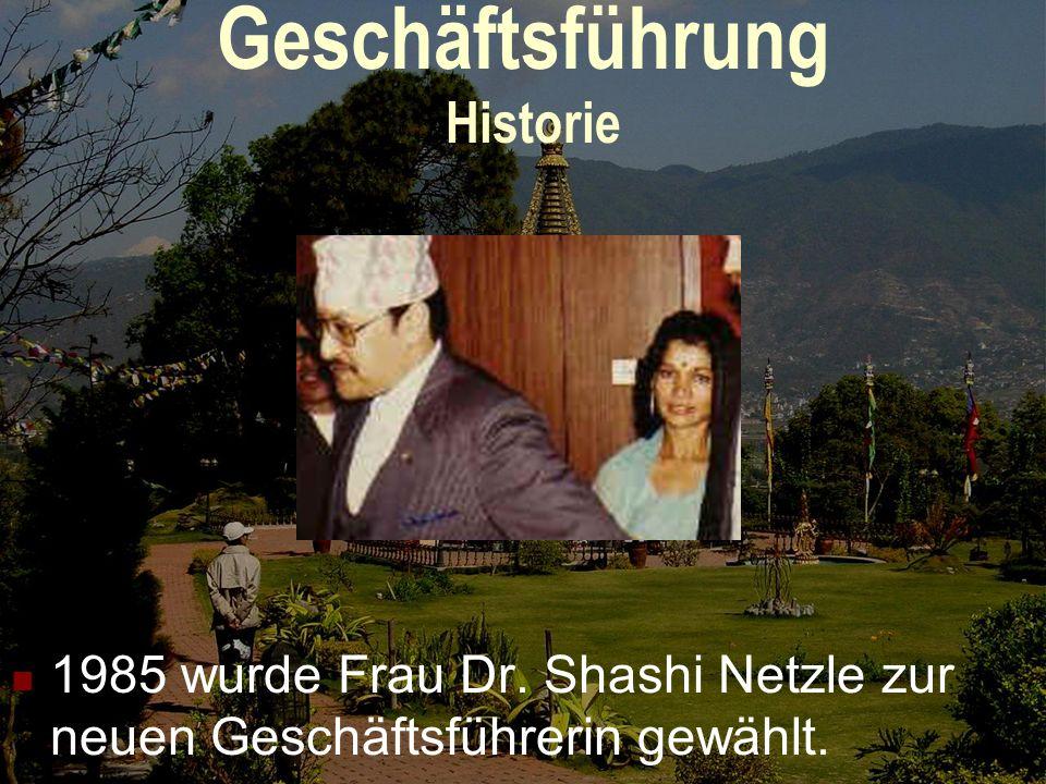 Geschäftsführung Historie 1985 wurde Frau Dr. Shashi Netzle zur neuen Geschäftsführerin gewählt.