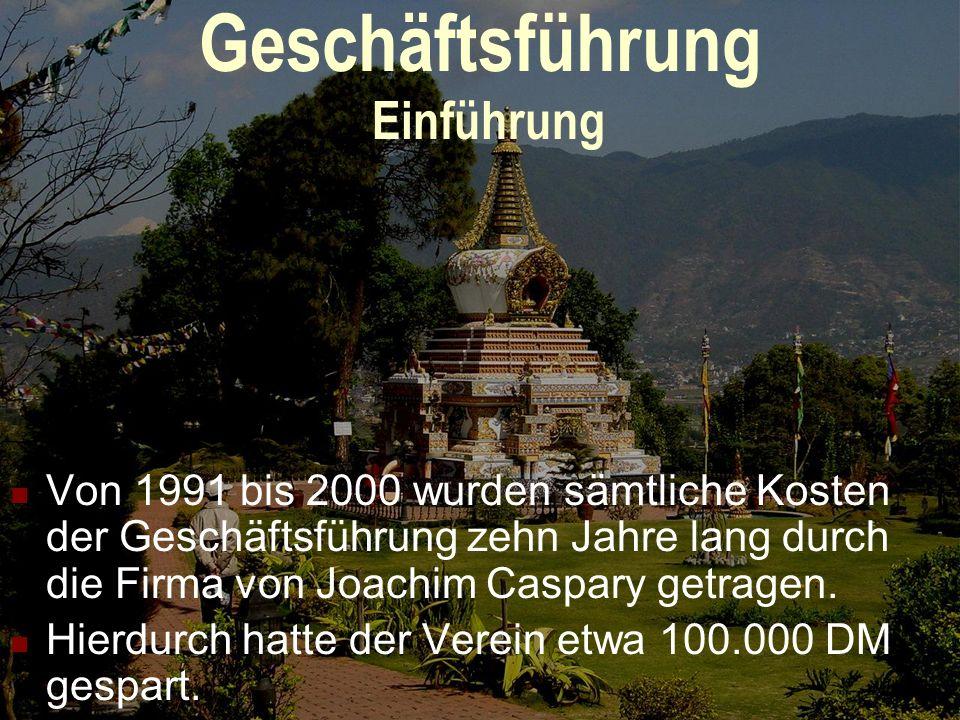 Geschäftsführung Einführung Von 1991 bis 2000 wurden sämtliche Kosten der Geschäftsführung zehn Jahre lang durch die Firma von Joachim Caspary getragen.
