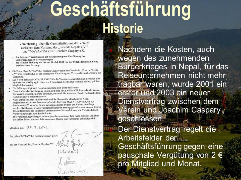 Geschäftsführung Einführung Von 1991 bis 2000 wurden sämtliche Kosten der Geschäftsführung zehn Jahre lang durch die Firma von Joachim Caspary getrage