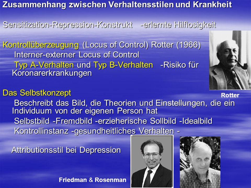 Zusammenhang zwischen Verhaltensstilen und Krankheit Sensitization-Repression-Konstrukt -erlernte Hilflosigkeit Kontrollüberzeugung (Locus of Control)