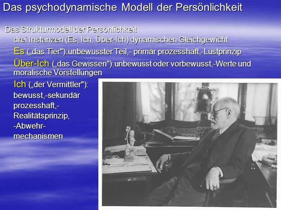 Das psychodynamische Modell der Persönlichkeit Das Strukturmodell der Persönlichkeit Das Strukturmodell der Persönlichkeit drei Instanzen (Es, Ich, Üb