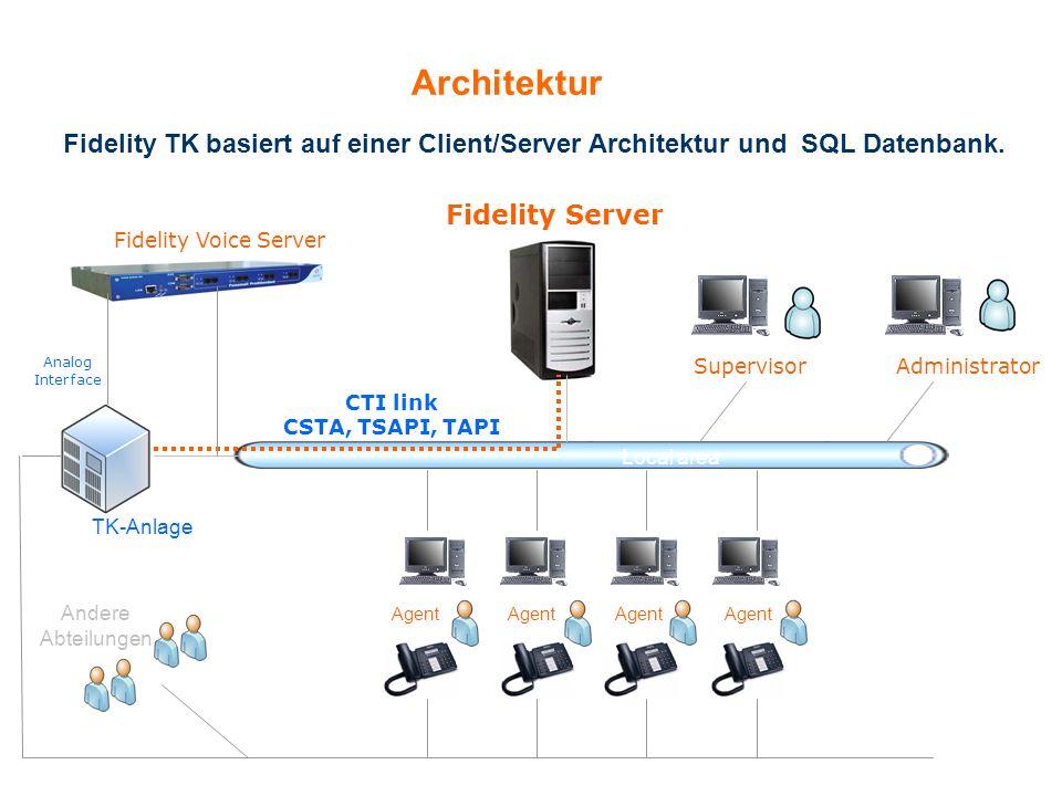 Fidelity TK basiert auf einer Client/Server Architektur und SQL Datenbank. Architektur Administrator Fidelity Server TK-Anlage Supervisor Andere Abtei