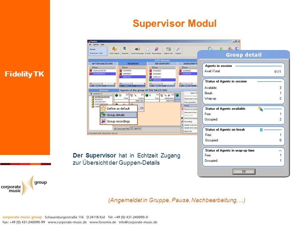 Fidelity TK Der Supervisor hat in Echtzeit Zugang zur Übersicht der Guppen-Details Supervisor Modul (Angemeldet in Gruppe, Pause, Nachbearbeitung,...)
