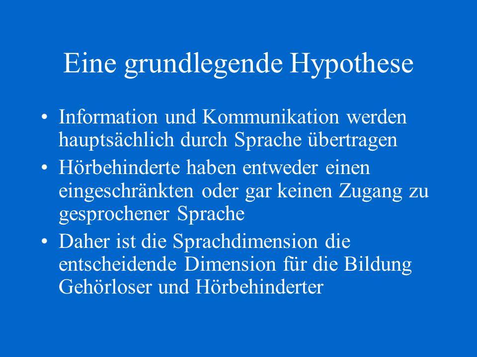 Eine grundlegende Hypothese Information und Kommunikation werden hauptsächlich durch Sprache übertragen Hörbehinderte haben entweder einen eingeschrän