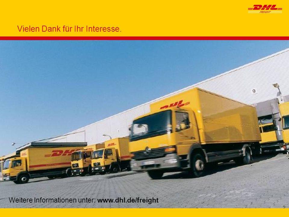 14 Weitere Informationen unter: www.dhl.de/freight Vielen Dank für Ihr Interesse.