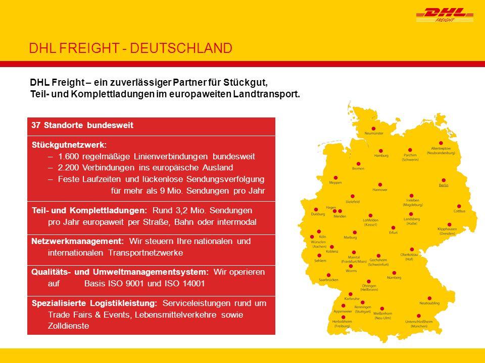 4 37 Standorte bundesweit Stückgutnetzwerk: –1.600 regelmäßige Linienverbindungen bundesweit –2.200 Verbindungen ins europäische Ausland –Feste Laufze