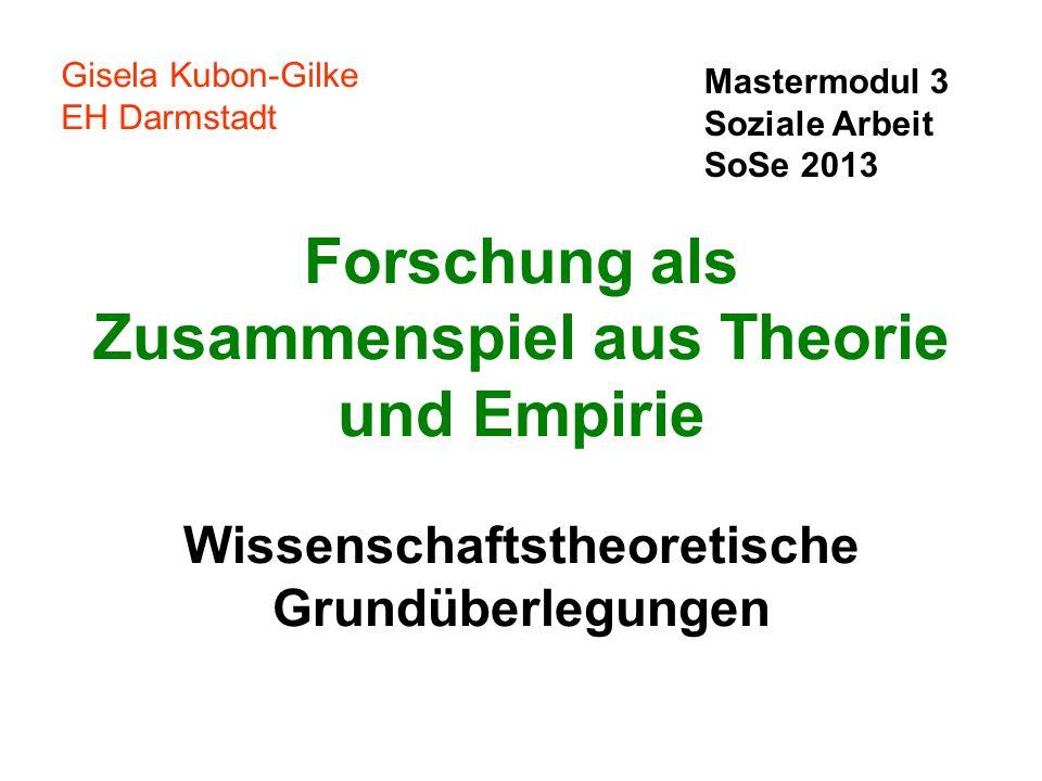 Forschung als Zusammenspiel aus Theorie und Empirie Wissenschaftstheoretische Grundüberlegungen Gisela Kubon-Gilke EH Darmstadt Mastermodul 3 Soziale