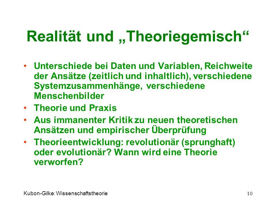 Kubon-Gilke: Wissenschaftstheorie 10 Realität und Theoriegemisch Unterschiede bei Daten und Variablen, Reichweite der Ansätze (zeitlich und inhaltlich