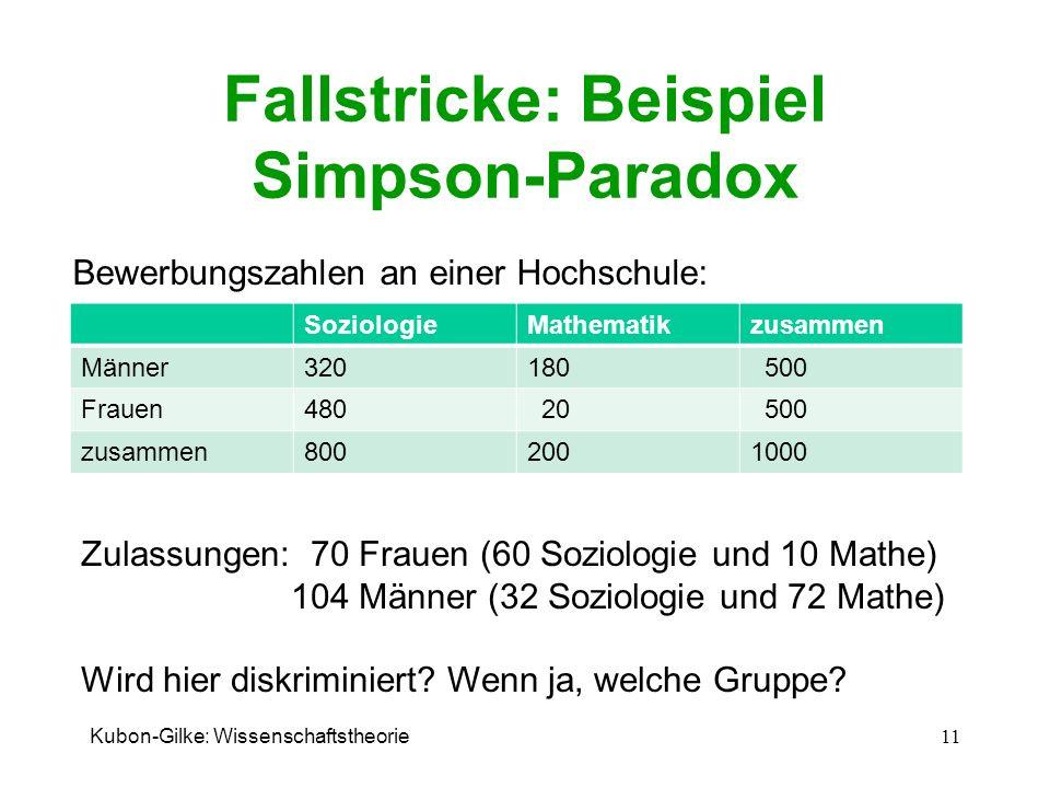 Fallstricke: Beispiel Simpson-Paradox SoziologieMathematikzusammen Männer320180 500 Frauen480 20 500 zusammen8002001000 Kubon-Gilke: Wissenschaftstheo