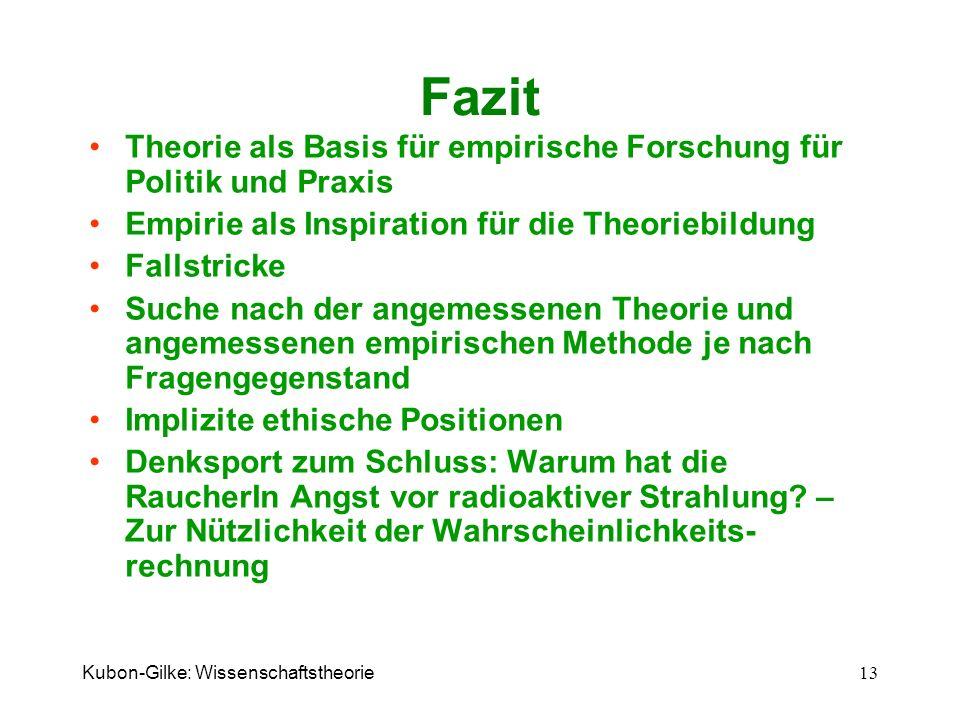Kubon-Gilke: Wissenschaftstheorie 13 Fazit Theorie als Basis für empirische Forschung für Politik und Praxis Empirie als Inspiration für die Theoriebi