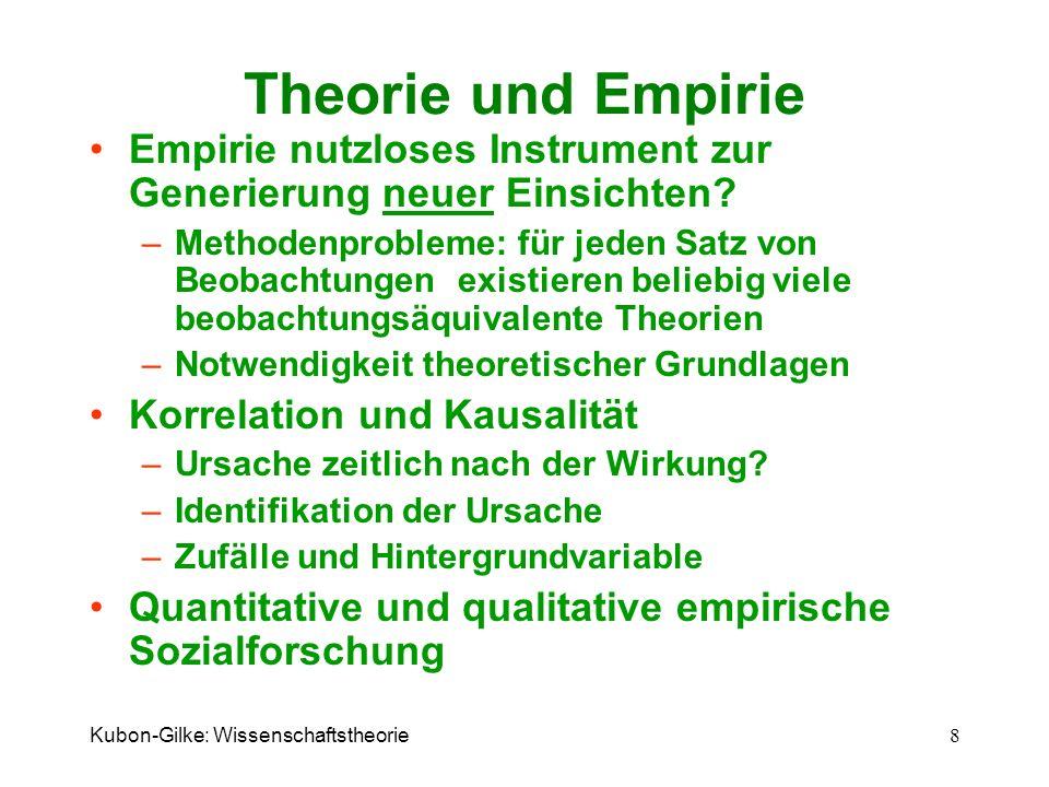 Kubon-Gilke: Wissenschaftstheorie 8 Theorie und Empirie Empirie nutzloses Instrument zur Generierung neuer Einsichten? –Methodenprobleme: für jeden Sa