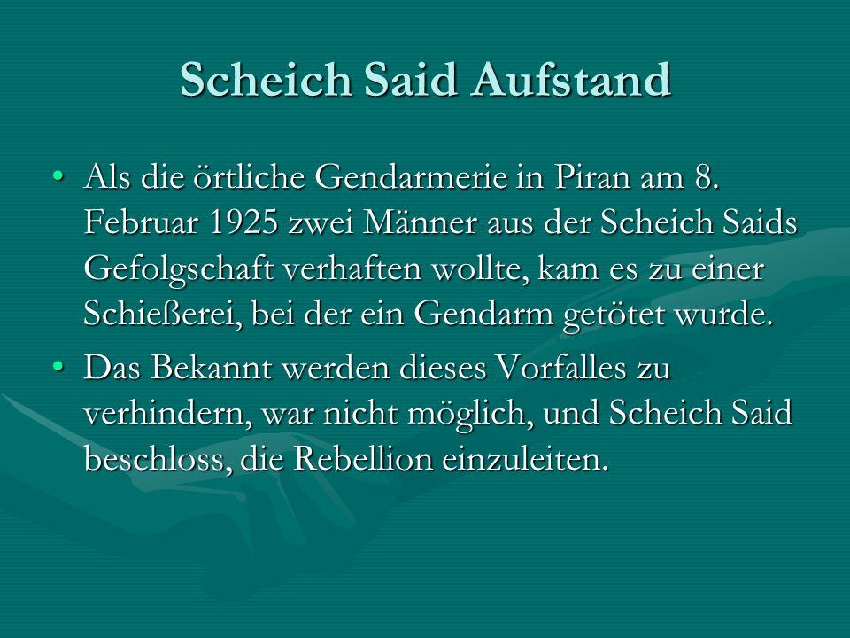 Scheich Said Aufstand Als die örtliche Gendarmerie in Piran am 8.