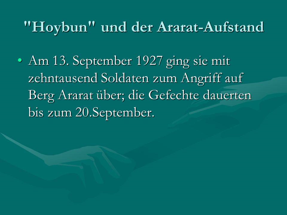 Hoybun und der Ararat-Aufstand Am 13.