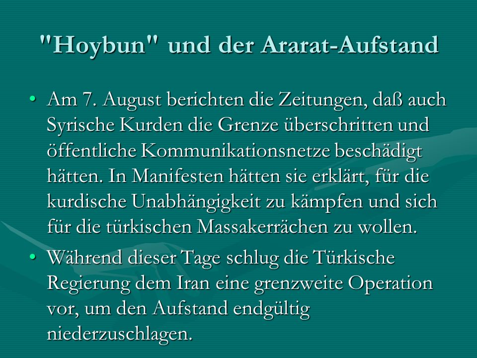 Hoybun und der Ararat-Aufstand Am 7.