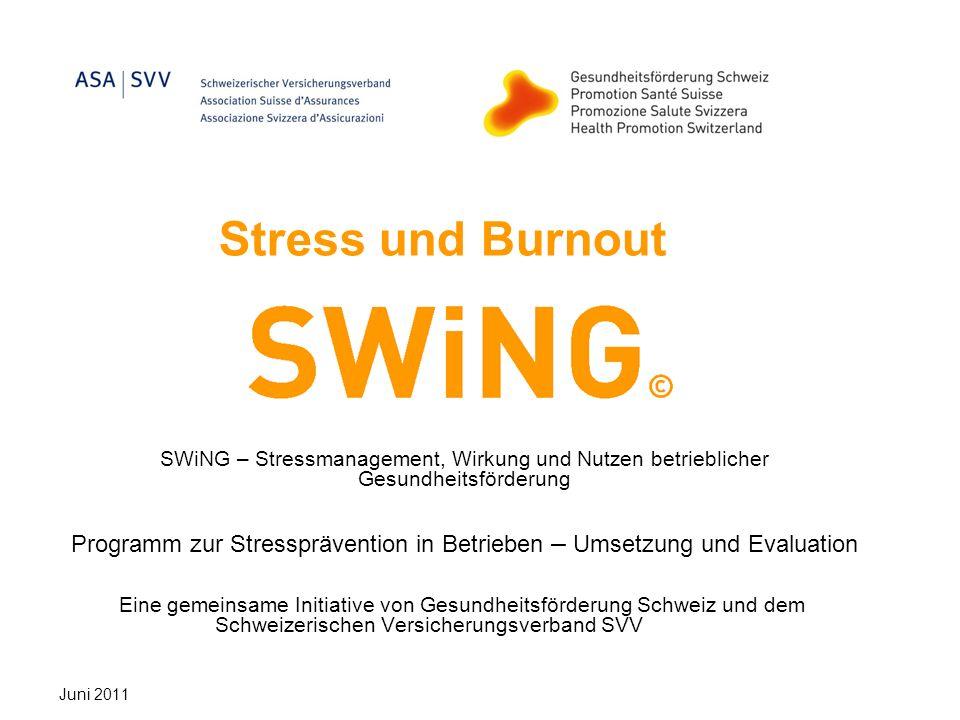 Stress und Burnout SWiNG – Stressmanagement, Wirkung und Nutzen betrieblicher Gesundheitsförderung Programm zur Stressprävention in Betrieben – Umsetz