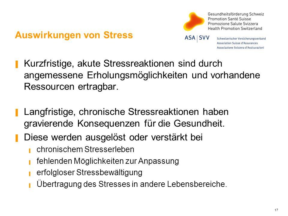 17 Auswirkungen von Stress Kurzfristige, akute Stressreaktionen sind durch angemessene Erholungsmöglichkeiten und vorhandene Ressourcen ertragbar. Lan