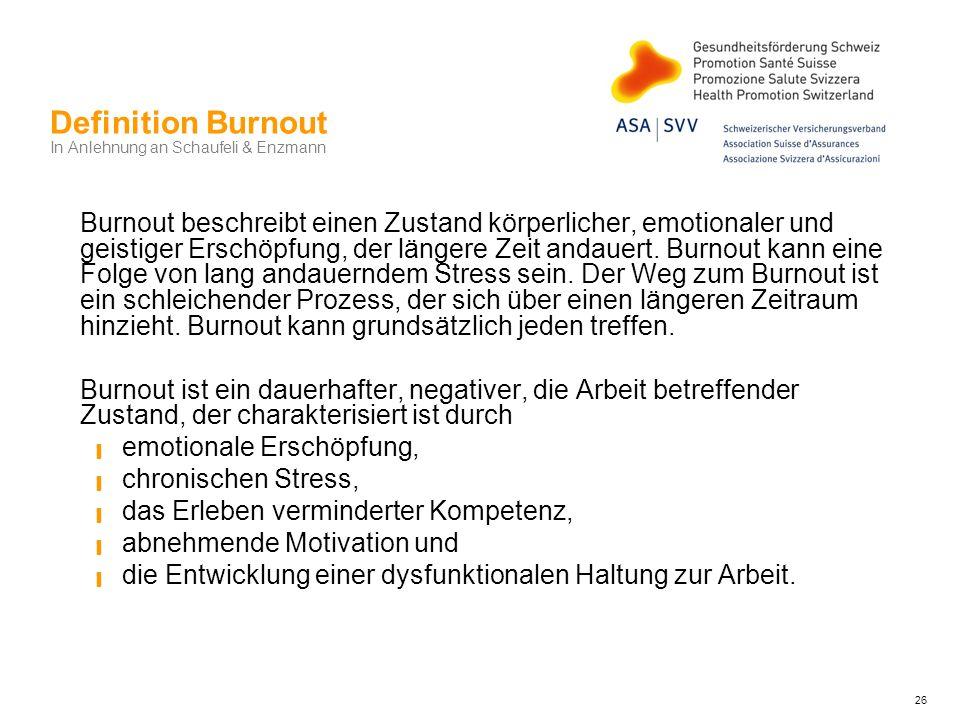 Definition Burnout In Anlehnung an Schaufeli & Enzmann Burnout beschreibt einen Zustand körperlicher, emotionaler und geistiger Erschöpfung, der länge