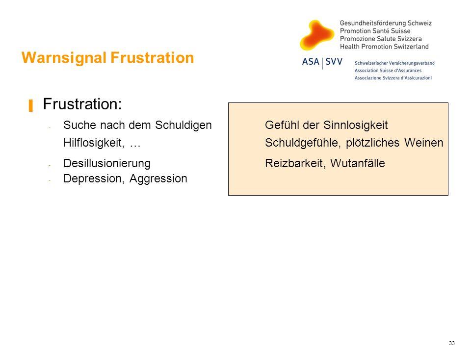Warnsignal Frustration Frustration: - Suche nach dem Schuldigen Gefühl der Sinnlosigkeit Hilflosigkeit, … Schuldgefühle, plötzliches Weinen - Desillus