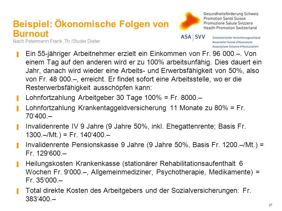 Beispiel: Ökonomische Folgen von Burnout Nach Petermann Frank,Th./Studer Dieter. Ein 55-jähriger Arbeitnehmer erzielt ein Einkommen von Fr. 96 000.–.