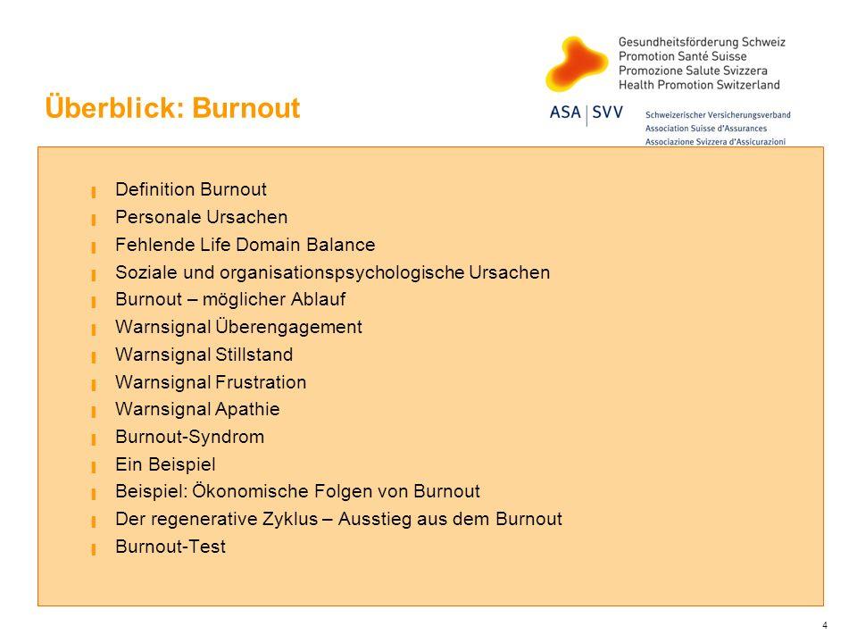 Überblick: Burnout Definition Burnout Personale Ursachen Fehlende Life Domain Balance Soziale und organisationspsychologische Ursachen Burnout – mögli