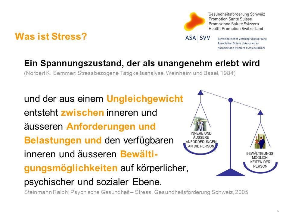 5 Was ist Stress? Ein Spannungszustand, der als unangenehm erlebt wird (Norbert K. Semmer: Stressbezogene Tätigkeitsanalyse, Weinheim und Basel, 1984)