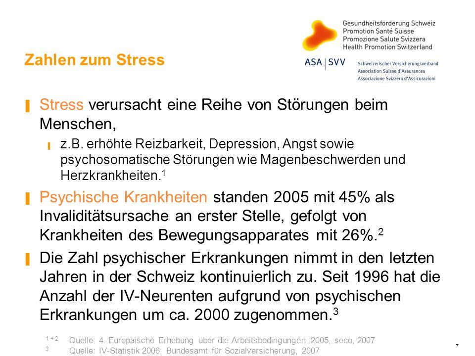 7 Zahlen zum Stress Stress verursacht eine Reihe von Störungen beim Menschen, z.B. erhöhte Reizbarkeit, Depression, Angst sowie psychosomatische Störu