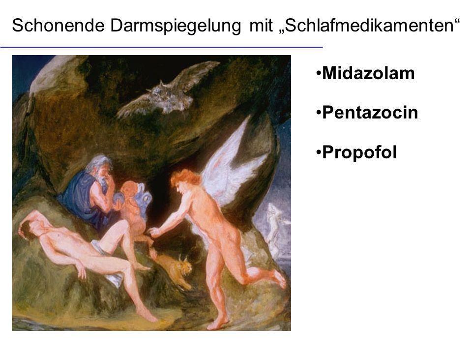 Schonende Darmspiegelung mit Schlafmedikamenten Midazolam Pentazocin Propofol