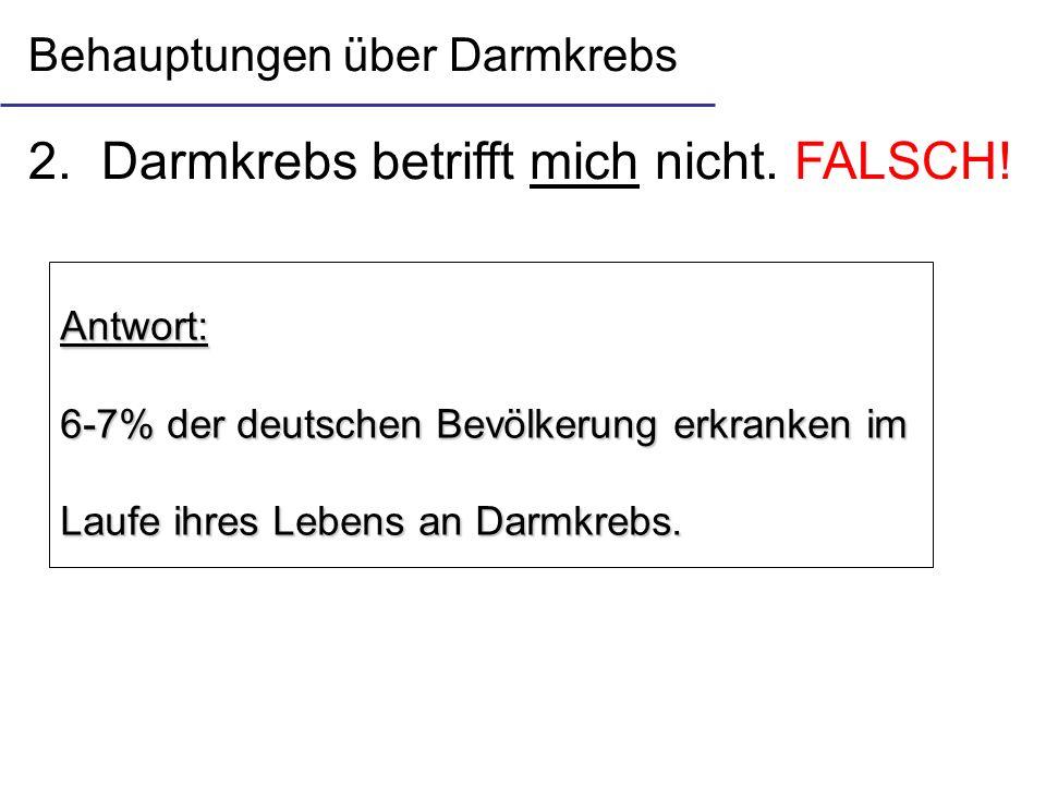 2. Darmkrebs betrifft mich nicht. FALSCH! Antwort: 6-7% der deutschen Bevölkerung erkranken im Laufe ihres Lebens an Darmkrebs. Behauptungen über Darm