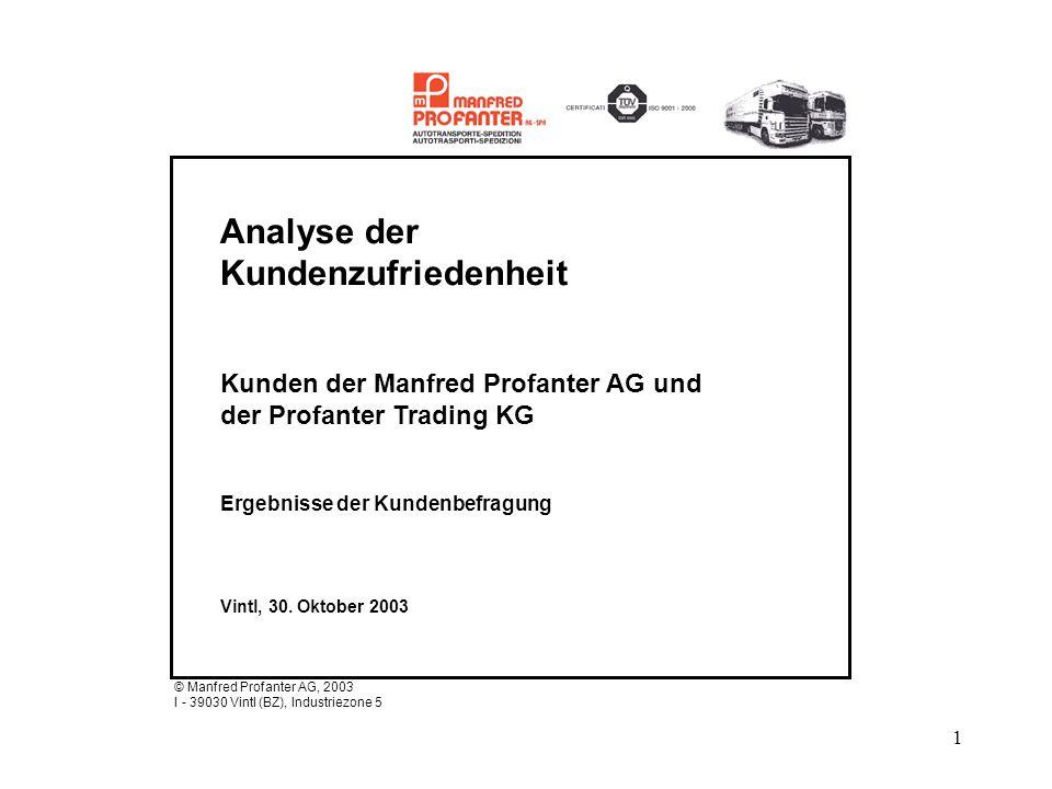 1 Analyse der Kundenzufriedenheit Kunden der Manfred Profanter AG und der Profanter Trading KG Ergebnisse der Kundenbefragung Vintl, 30. Oktober 2003