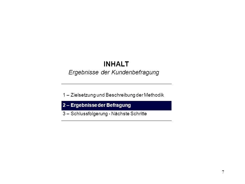 7 INHALT 1 – Zielsetzung und Beschreibung der Methodik 2 – Ergebnisse der Befragung 3 – Schlussfolgerung - Nächste Schritte Ergebnisse der Kundenbefra