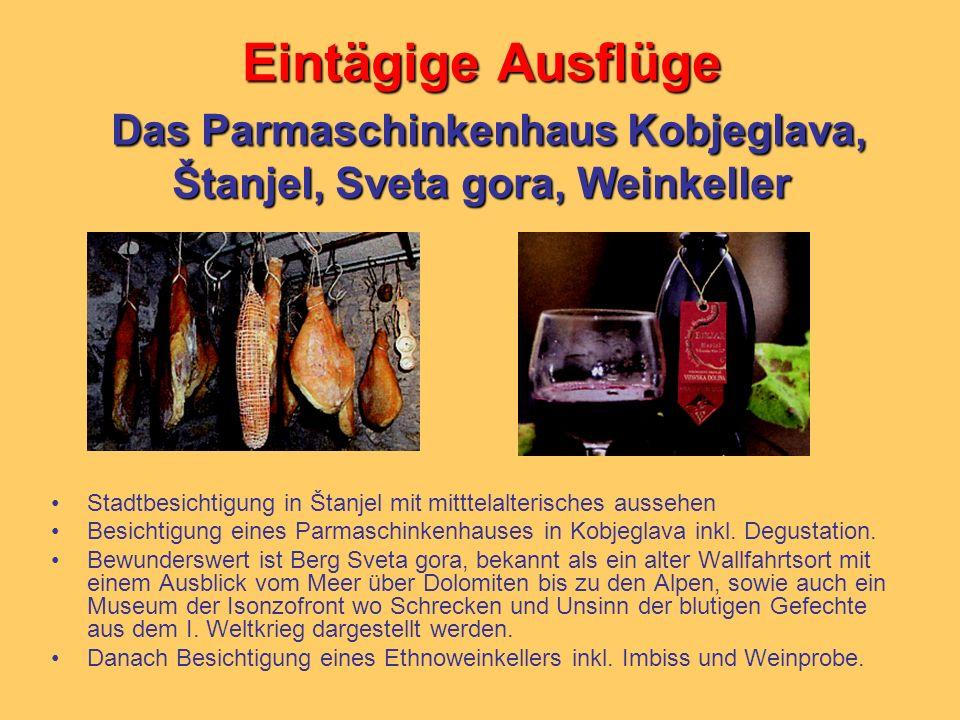 Eintägige Ausflüge Das Parmaschinkenhaus Kobjeglava, Štanjel, Sveta gora, Weinkeller Stadtbesichtigung in Štanjel mit mitttelalterisches aussehen Besi