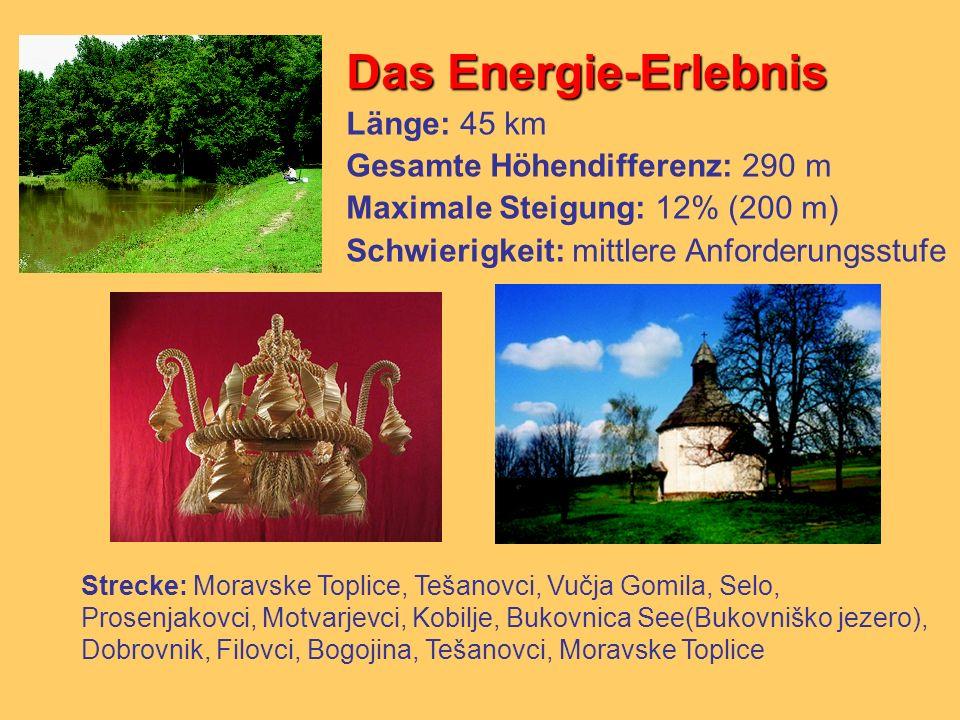 Das Energie-Erlebnis Länge: 45 km Gesamte Höhendifferenz: 290 m Maximale Steigung: 12% (200 m) Schwierigkeit: mittlere Anforderungsstufe Strecke: Mora