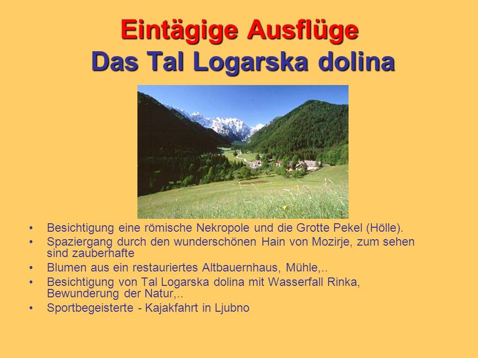 Eintägige Ausflüge Das Tal Logarska dolina Besichtigung eine römische Nekropole und die Grotte Pekel (Hölle). Spaziergang durch den wunderschönen Hain
