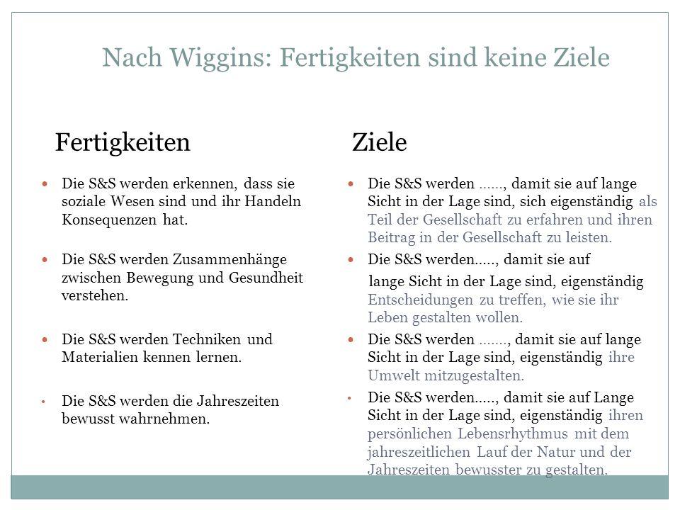 Nach Wiggins: Fertigkeiten sind keine Ziele Fertigkeiten Die S&S werden erkennen, dass sie soziale Wesen sind und ihr Handeln Konsequenzen hat. Die S&