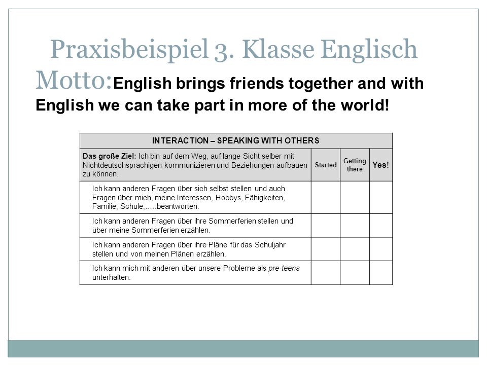 Praxisbeispiel 3. Klasse Englisch Motto: English brings friends together and with English we can take part in more of the world! INTERACTION – SPEAKIN