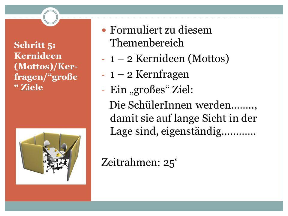 Schritt 5: Kernideen (Mottos)/Ker- fragen/große Ziele Formuliert zu diesem Themenbereich - 1 – 2 Kernideen (Mottos) - 1 – 2 Kernfragen - Ein großes Zi