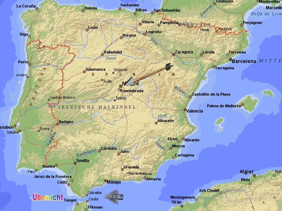 Lage: Grenzen: Frankreich (Pyrenäen), Atlantischer Ozean, Portugal Marokko (Straße von Gibraltar) Mittelmeer Zu Spanien gehören: Kanarische Inseln (Teneriffa), Balearen (Mallorca) Überwiegend Gebirgsland: Zentrale Hochebene (Nord+Südmeseta) Höchster Gipfel: Pico de Aneto 3404m hoch Flüsse: Ebro, Tajo, Guadalquivir Hauptstadt: Madrid Nach Österreich und Schweiz ist Spanien das Bergigste Land