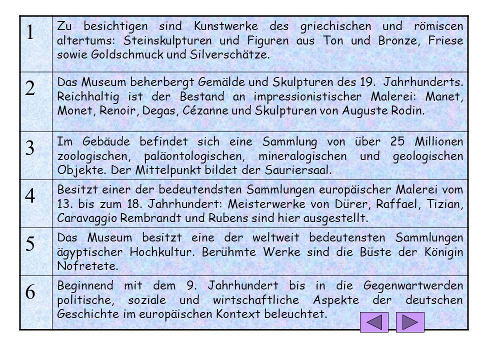 Was findet man wo? Deutsches Historisches Museum Agyptisches Museum und Papyrussammlung Altes MuseumPergamonmuseum Alte NationalgalerieJüdisches Museu