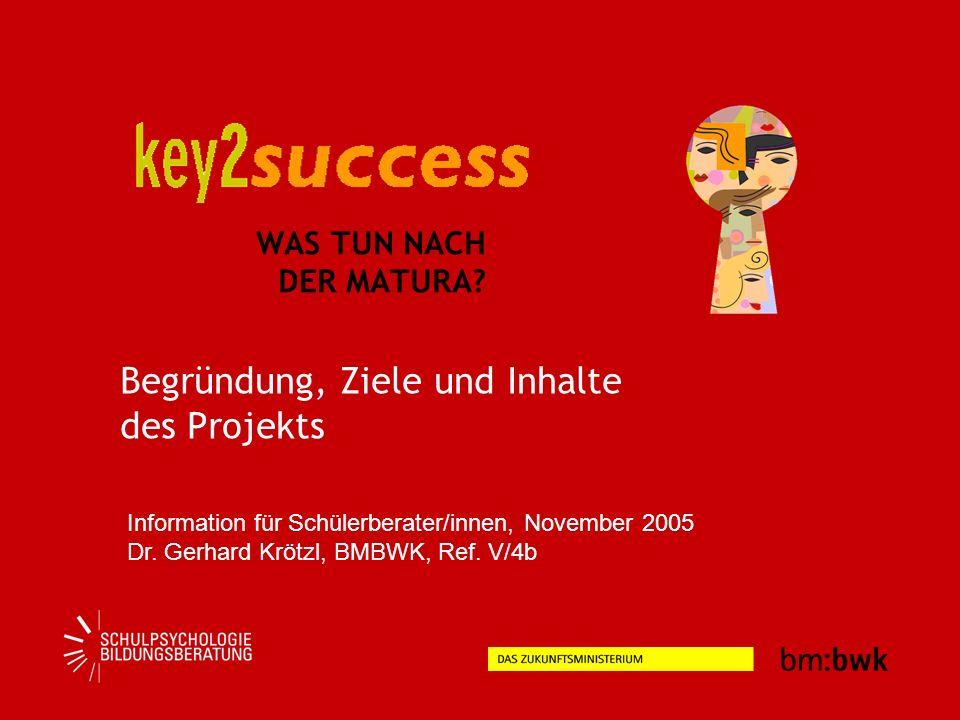 WAS TUN NACH DER MATURA? Begründung, Ziele und Inhalte des Projekts Information für Schülerberater/innen, November 2005 Dr. Gerhard Krötzl, BMBWK, Ref