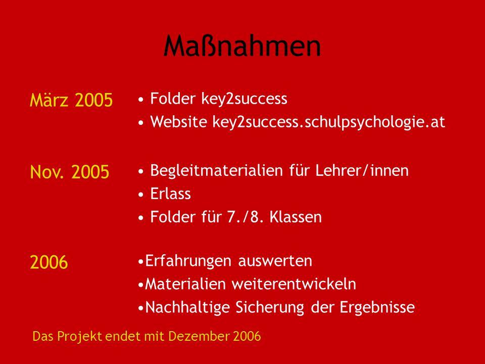 Maßnahmen März 2005 Folder key2success Website key2success.schulpsychologie.at Nov. 2005 Begleitmaterialien für Lehrer/innen Erlass Folder für 7./8. K