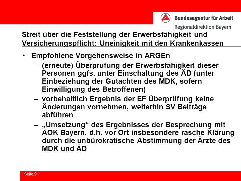 Seite 9 Streit über die Feststellung der Erwerbsfähigkeit und Versicherungspflicht: Uneinigkeit mit den Krankenkassen Empfohlene Vorgehensweise in ARG